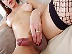 Big tit solo shemale masturbating while in lingerie