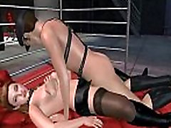 Hot 3D brunette taking a hard cock in her pussy