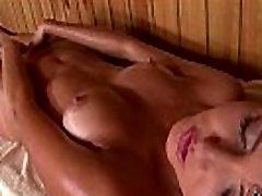 Ukraina Babe Agness Sõrmed Oma Roosa Tuss Saunas