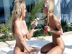 Luxury coed blondes jean wolfie eating