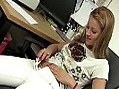 Lascivious ugg classic masturbates in the office