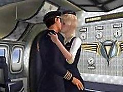 Sexy 3D cartoon blonde stewardess getting fucked