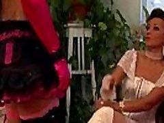 Femdoms dominate bound sissy victim