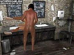 Hot 3D cartoon stud gets fucked anally in a bathroom