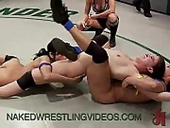 Four babes wrestle and fuck on mats