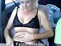 A 44 years old grandmother from Romania having cum publik in car in video chat