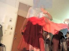 Sissy Ray in Red Taffeta Skirt