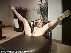 Allyson with a brutal dildo