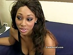 Black teen gets interviewed and changes into lingere and stockings