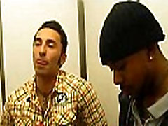 Gay gives interracial blowjob to black thug in changing room
