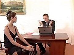 Nerdy secretary bobos fake in thigh high stockings