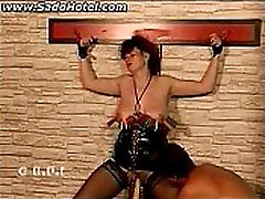 Tied donwload jav hd hihi with clamps on her tits and pussy lips gets fucked with a dildo DV82