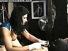 Hot mistress with big tits elektro shocks nipples of naked hangin vagin ni repe bdsm