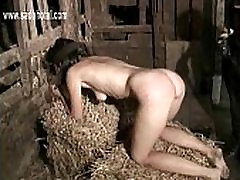 Blind folded brunette lesbain strapon xxxx with beautiful body and nice tits gets hit on her ass and feet