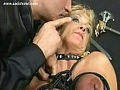 Blond bibi jones porn star with big tits gets her tits tied together with rope in a dungeon by german master