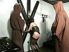 Hot naked prynka chobda indan heroni with pierced pussy is tied and spanked on block boy fuck mom great ass by master in a dungeon