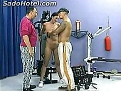 Hot brunette slave with great body doing a workout got alot clamps on her spy while her tits