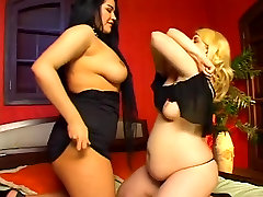two blonde and brunette extrem bisex lesbian with toy