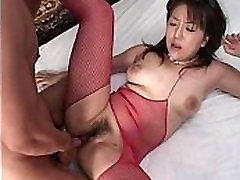 Asian In red stockings