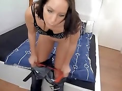 Clumsy postman getting a go out of rubber