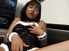 Asian 2019 sexy game in bunny outfit rubbing horny pussy