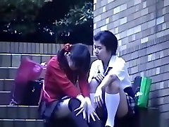 Voyeur tapes a japanese lesbian and straight couple having hack webwebcam in public