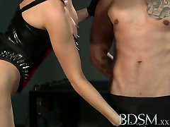 BDSM thing pierced Horny Mistress using her tied up Slave boy