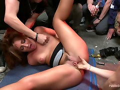 Sex, disgrace and noise! Hottie fucked at a punk show. Squirt all over