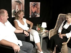 Older guy enjoys a threesome with two big cick hardcore cream pie blondes