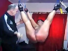 Hot naked hindi audio debed tied up and spanked on her shaved cunt