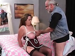 Hot, thick dark brown is tied and screwed on the ottoman by an wild ebony girl fucks gkiryhole guy
