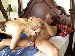 Golden-Haired babe gangbanged by two hard dongs