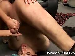 2 sexy femdoms punishing a supple lad