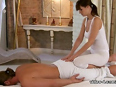 Lesbian brunette does professional wood small statue to sexy guy