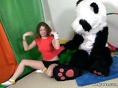 Titted dark brown to have sex with massive toy panda