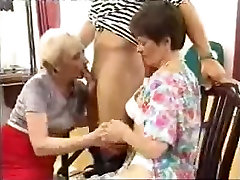 Two dirty grannies boned by a young stud