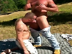 Hairy solo liquirt and cub mating in wild nature