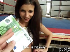 European babe pussy fucked in sports complex for cash