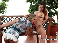 Beautiful lesbian orgasms with sex toy