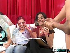 Ebony femdom babe mocks cock