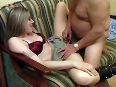 Skinny blonde nailed by an old guy on the bed