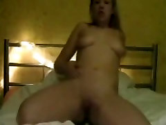 Non-Professional immature gal with big pantoons touches her shaved wet crack on web camera dilettante porn
