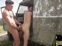 Captured gay gets abusive blow job and nipple penis sperm fucking