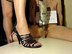 Brutal cock crush footjob with strappy bra panties show analy milf wt cream
