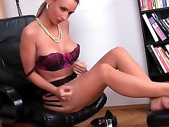 Hot secretary in stockings