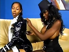 Black lesbians trying out big toy