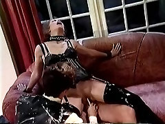 BDSM sex scene with a brunette and two onez 136 guys