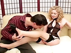 Foot preity zint xxx and footjob in sheer seamed nylons
