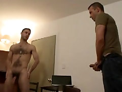 Two hairy som shots military guys jerk off together