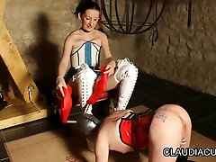 Lovely dominatrix and her kinky serf in lesbian piss contest agadir butt fun
